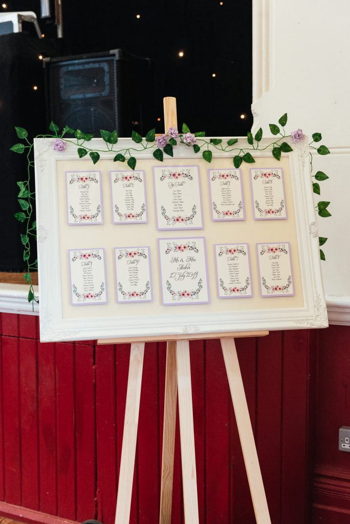 DIY village hall wedding with bespoke seating plan