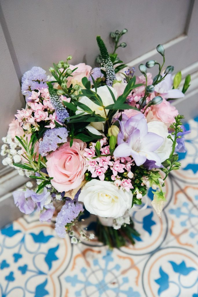 Pink and pastel wedding bouquet florals