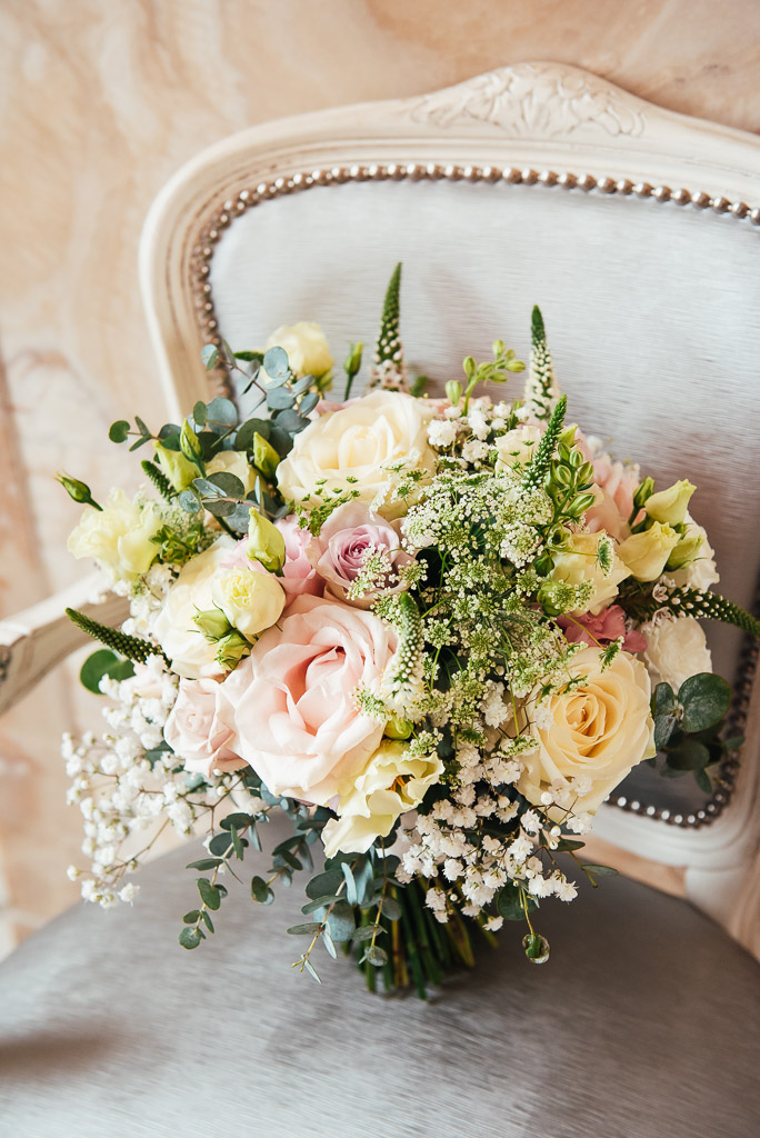 Beautiful white and pink bridal bouquet