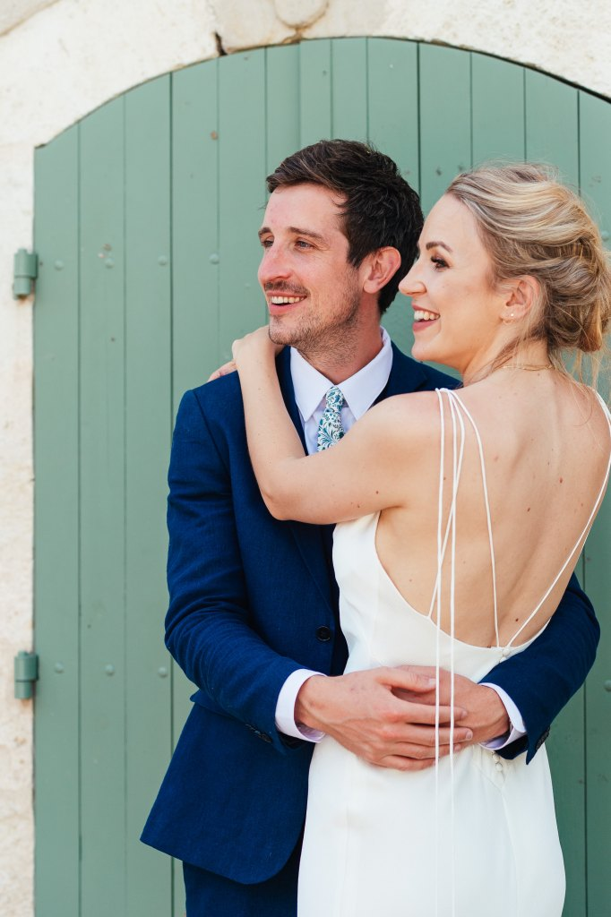 Outdoor French courtyard wedding couples portrait