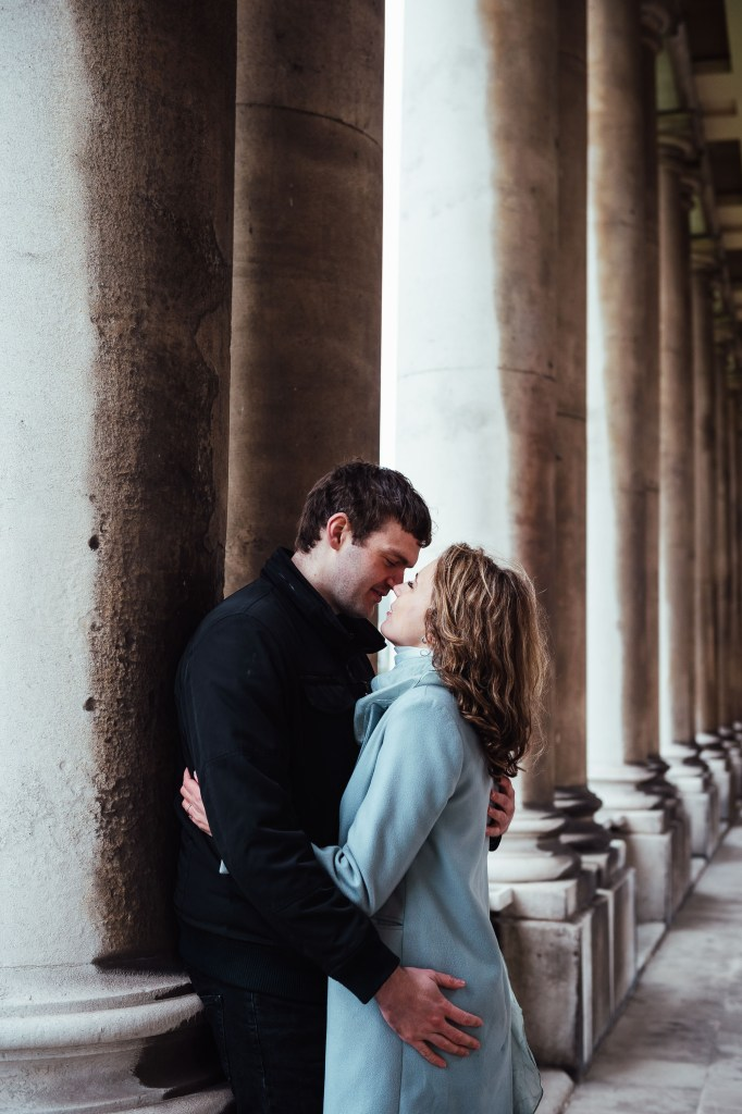 Romantic engagement portrait at Greenwich Park
