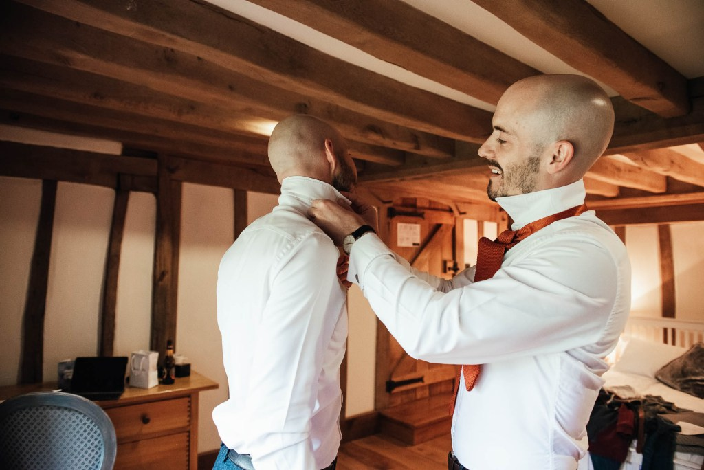 Groom prep photography for Cain Manor wedding
