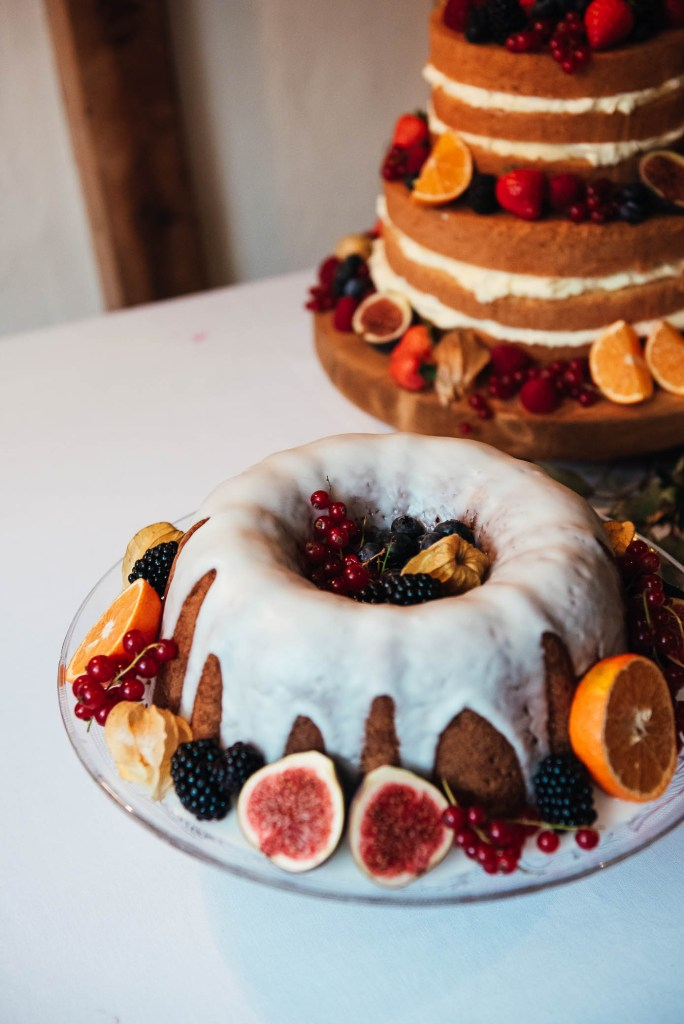 Iced bunt cake with fruit decoration