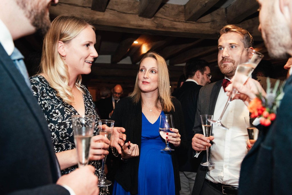 Guests enjoy a relaxed drinks reception at Cain Manor