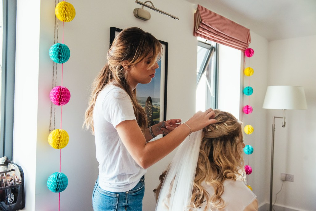 Hair and make up photography for bridal prep