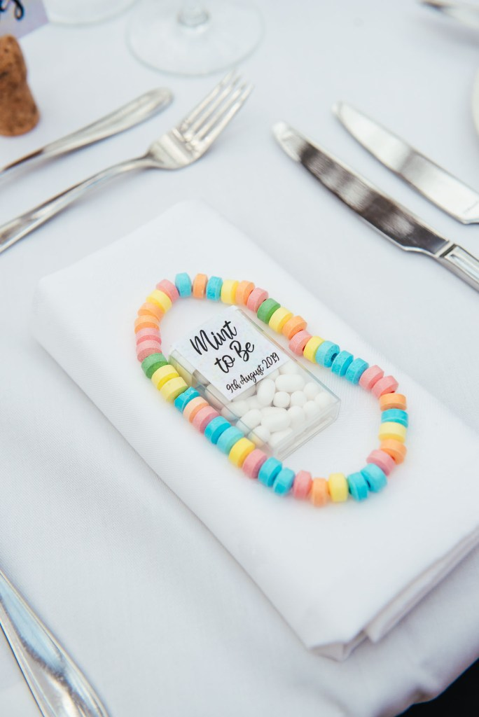 Fun wedding favours of candy necklaces
