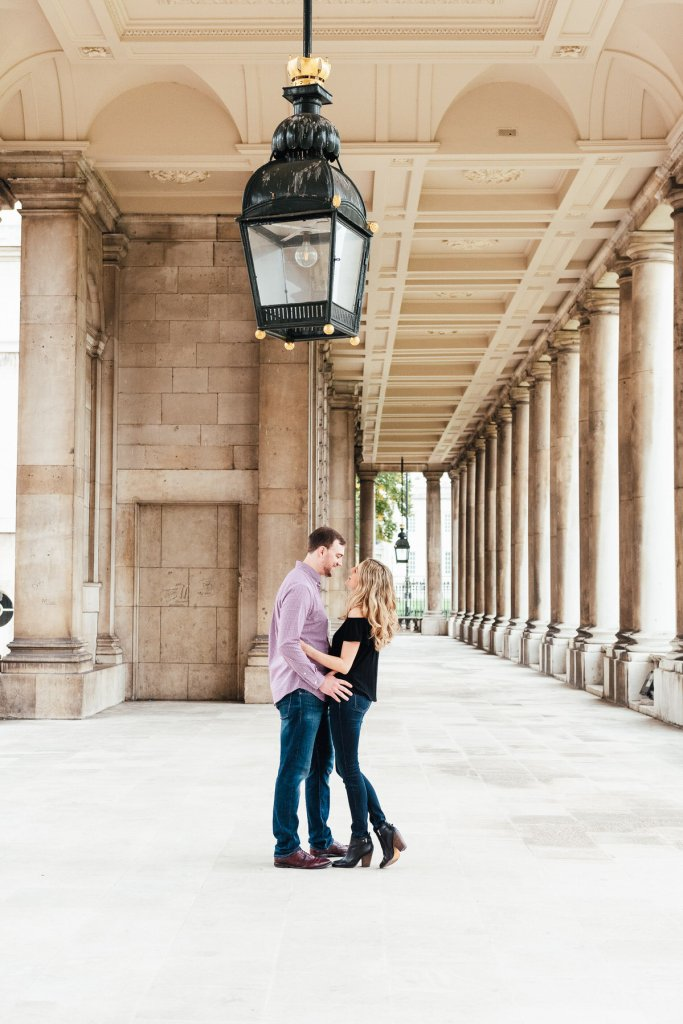 Romantic Greenwich engagement couples photoshoot