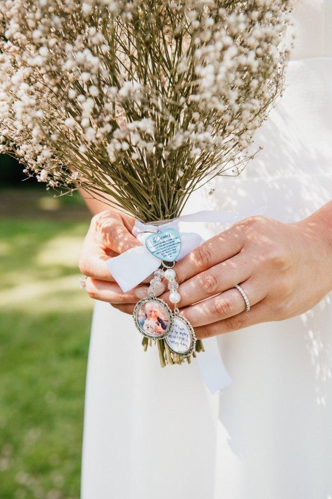 Keepsakes on Bridal Bouquet