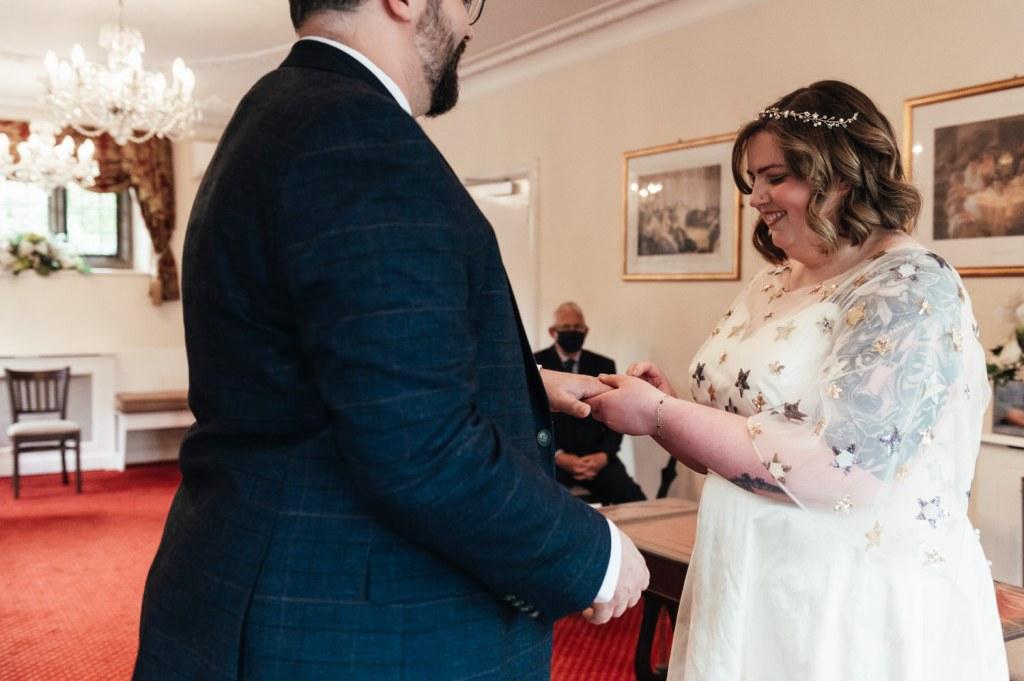 Ring Exchange at Pandemic Micro Wedding