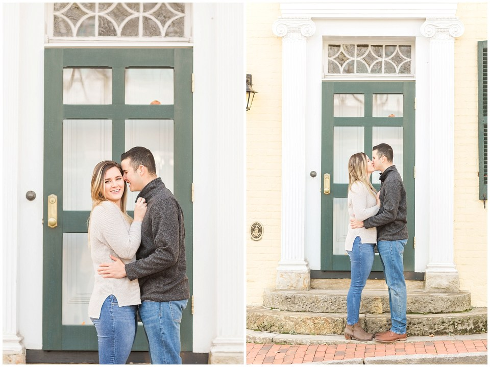 Engagement photo in front of yellow building in leesburg virginia