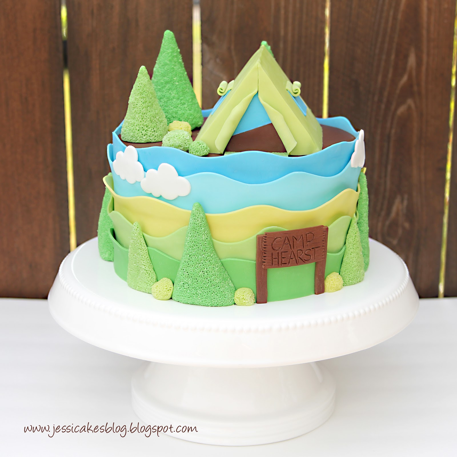 Excellent Camping Tent Baby Shower Cake And Tutorial Jessica Harris Cake Funny Birthday Cards Online Bapapcheapnameinfo