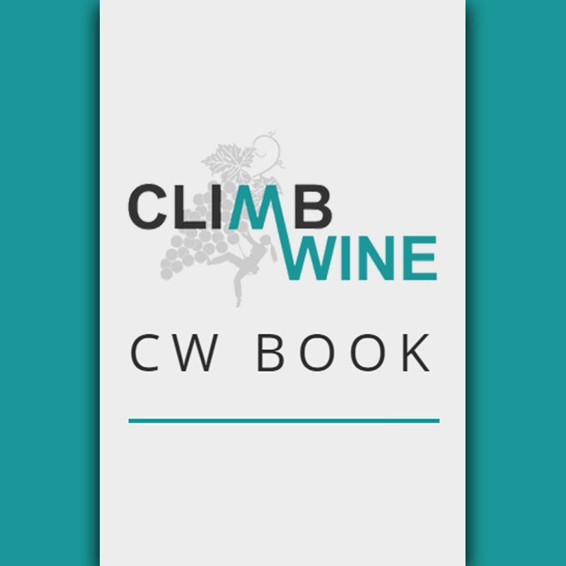 Climb and Wine Book holding image