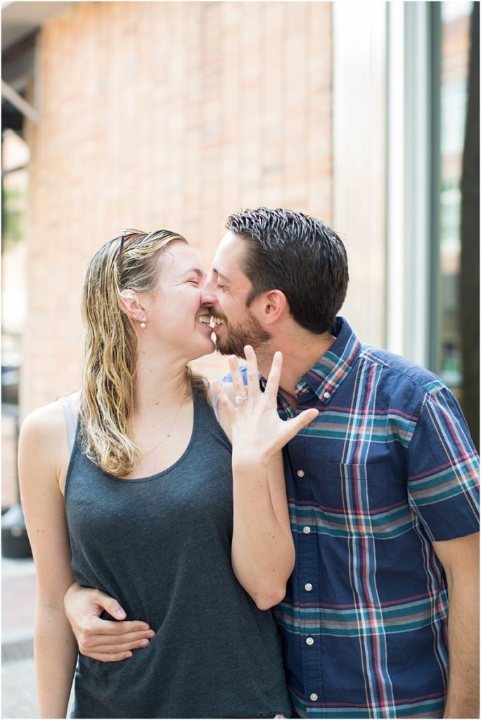 couple almost kiss engaged surprise proposal