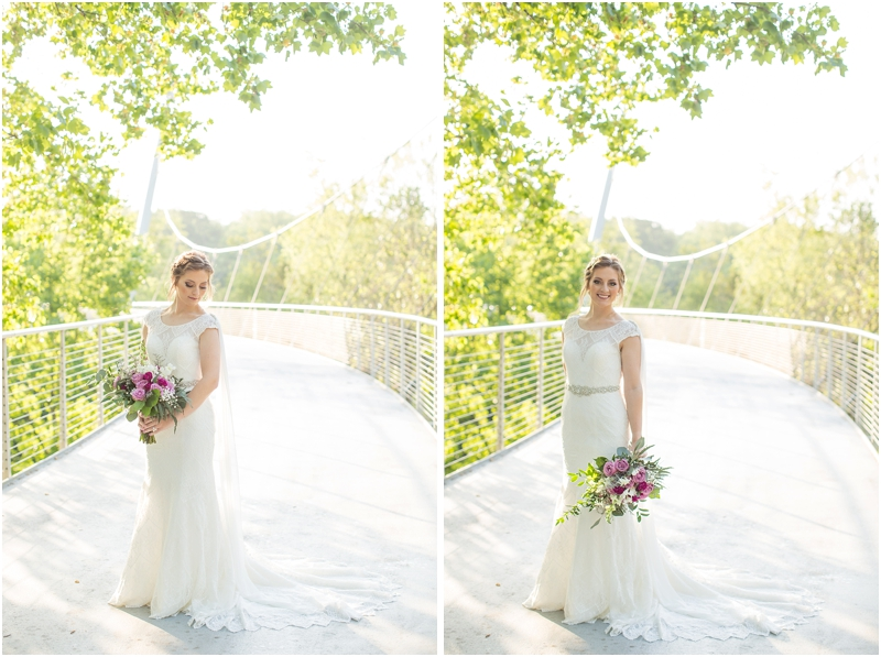 Bride on bridge in Falls Park on the Reedy
