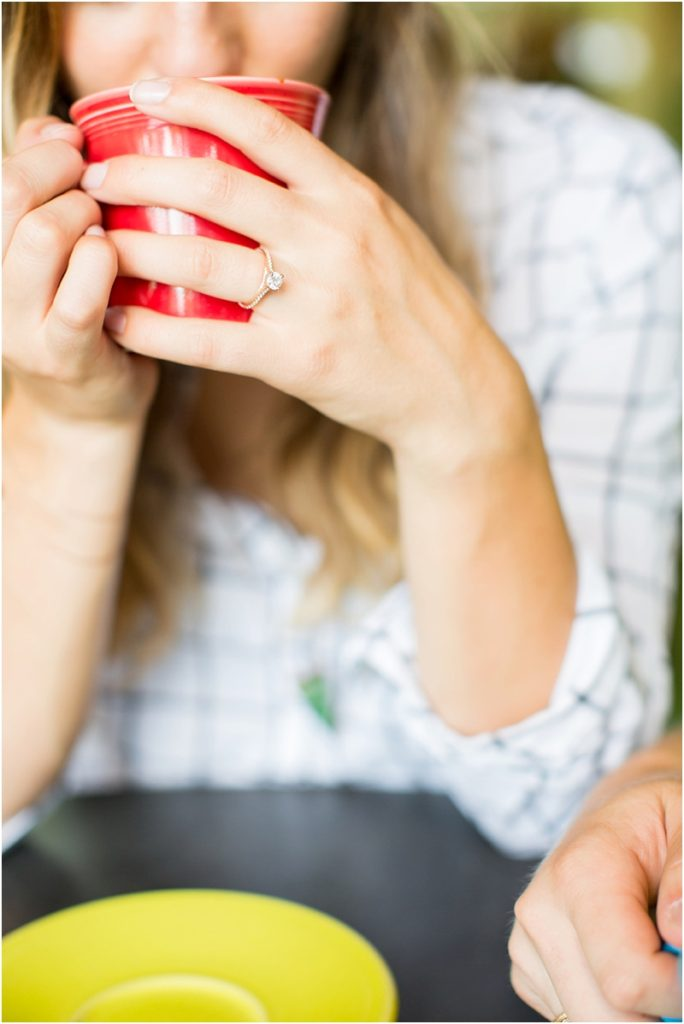 Engagement ring red cup latte Drip Coffee
