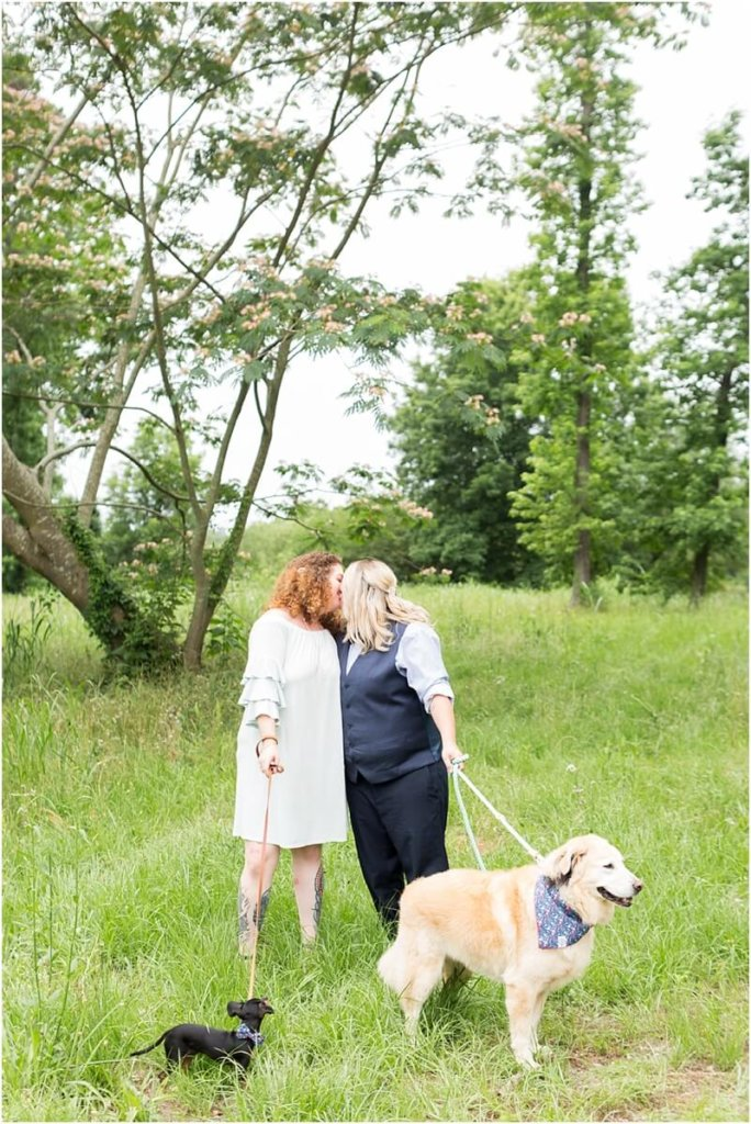 lesbian wedding photo shoot with dogs