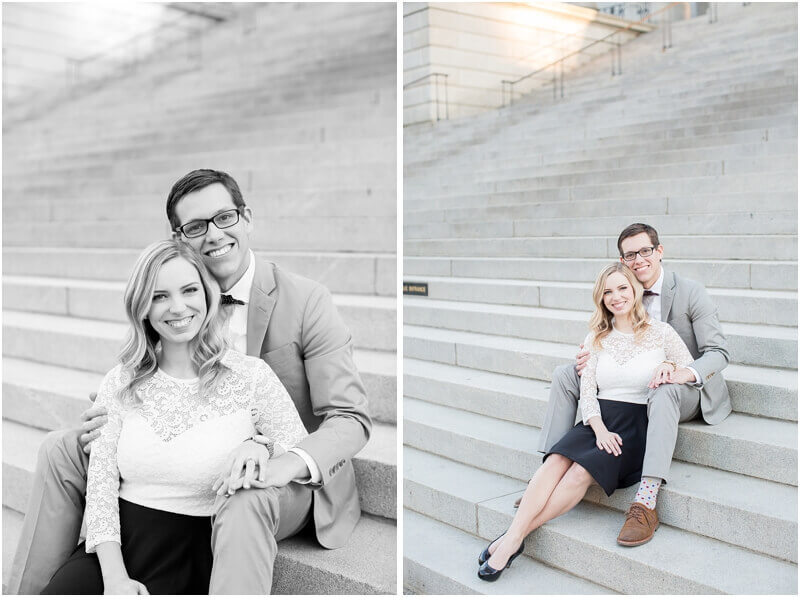 engagement photos on the steps of statehouse grounds south carolina