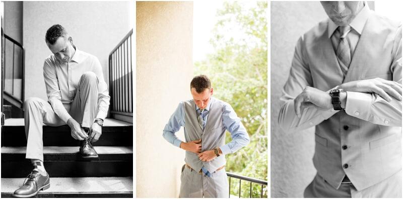 Tybee island beach wedding photos, groom getting ready