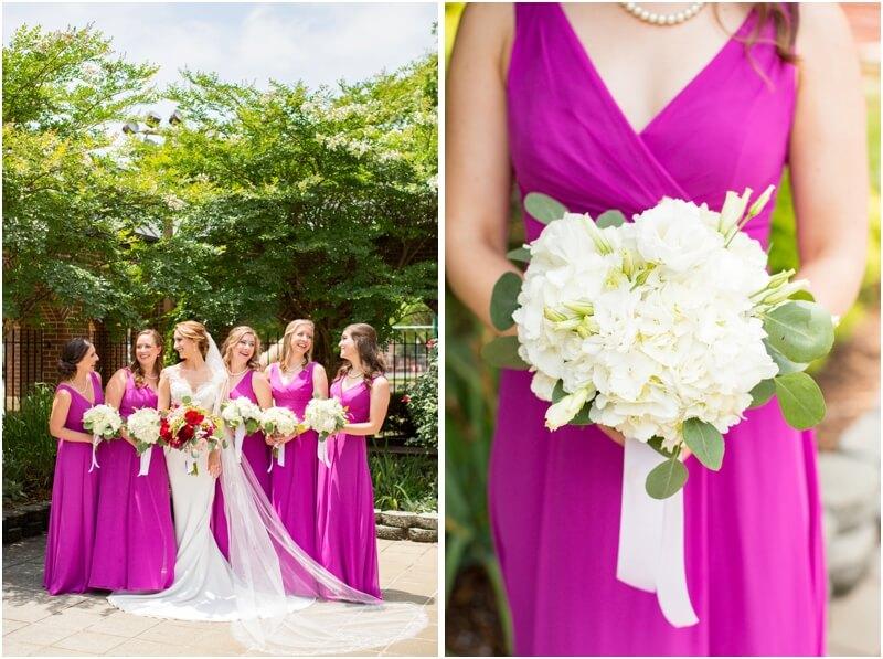 Basilica of St Peters Columbia South Carolina wedding photos bridal party wedding photos Columbia Sc pink bridesmaids dresses