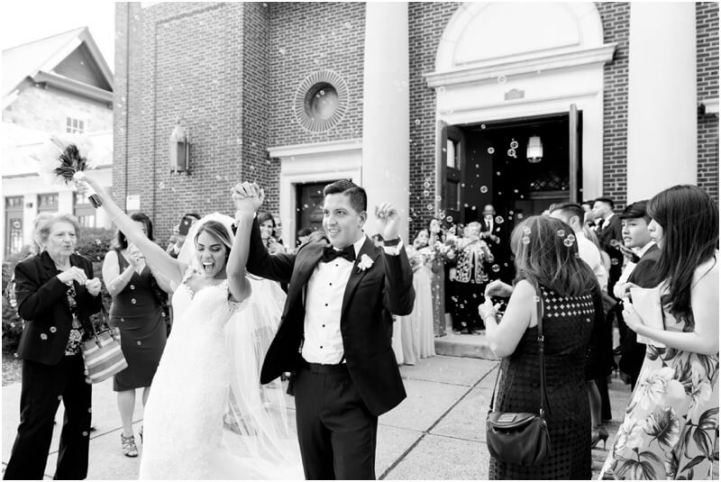 Holy Trinity Catholic Church wedding photos Morristown, New Jersey Wedding Bubble Exit