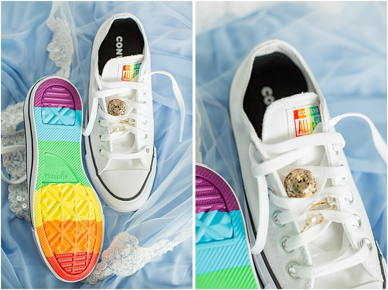 LGBTQ+ Citadel Beach Club Wedding Converse Shoes with LGBTQ+ Flag colors