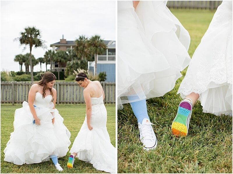 LGBTQ+ Citadel Beach Club Wedding Couple Showing Off their Details