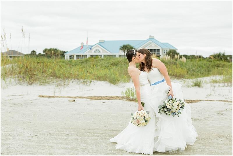 LGBTQ+ Citadel Beach Club Married Couple Kissing on Beach
