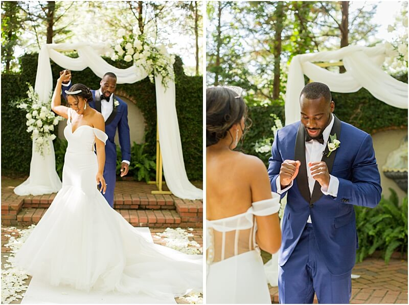 Columbia, SC Wedding Couple First Look at Lace House at Arsenal Hill