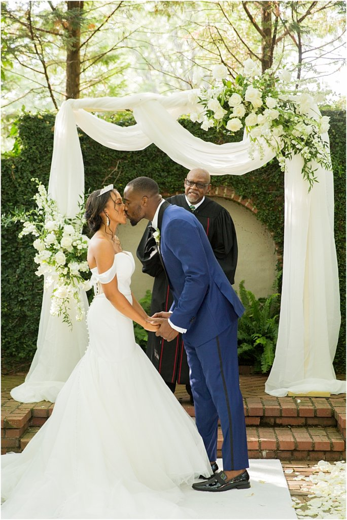 Columbia, SC Wedding Couple First Kiss at Lace House at Arsenal Hill