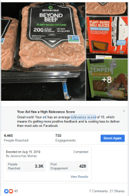 Successful targeted Facebook ad for GreenLeaf Market