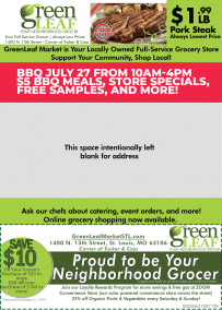 Direct mail design with coupon for GreenLeaf Market