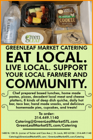 Catering card advertisement for GreenLeaf Market
