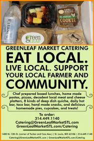 Catering card advertisement for GreenLeaf Market