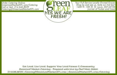 Catering box label design for GreenLeaf Market