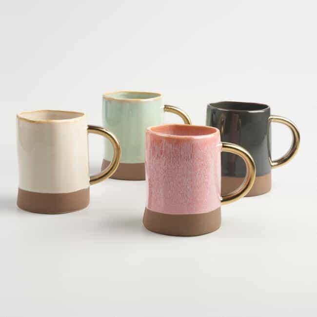 dipped reactive glaze mugs boho tablescape