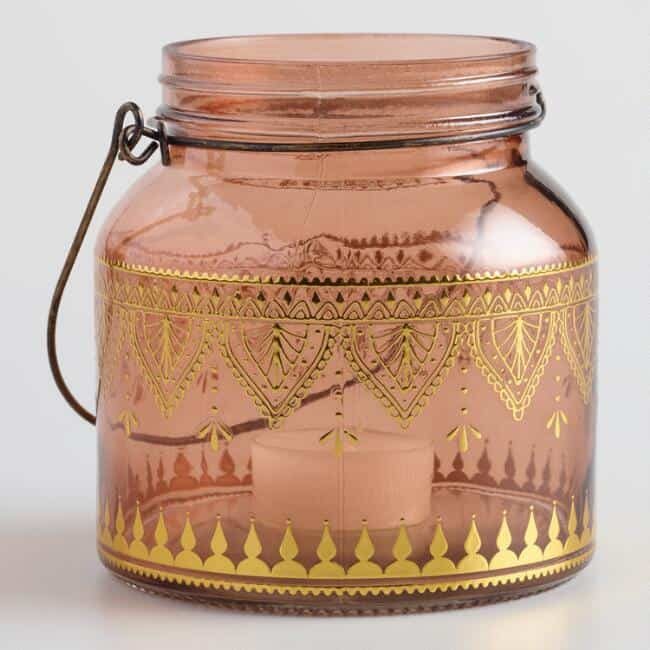 Pink glass lantern boho tablespace decor