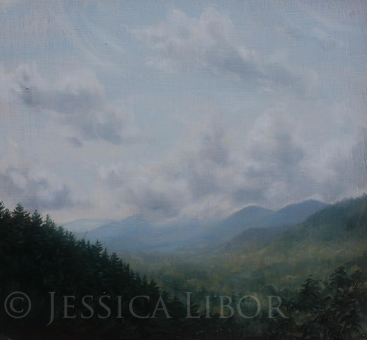 "Blue Mountain, oil on board, 10""x10"", Jessica Libor 2013"