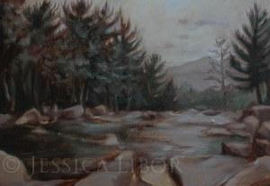"Jackson Falls, study, oil on panel, 4""x6"", Jessica Libor 2013"