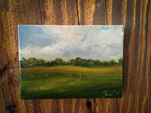 """White Birch, oil on canvas, 2""""x3"""", Jessica Libor"""