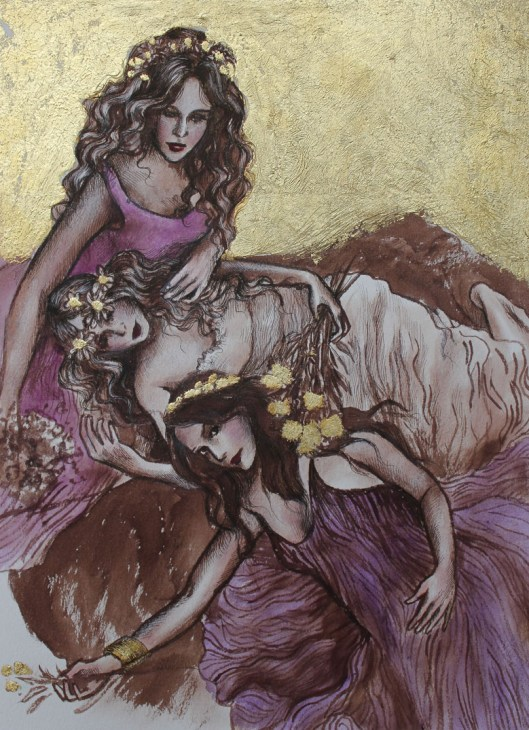 "Muses, mixed media and 23 karat gold leaf, 8""x10"", Jessica Libor 2014"