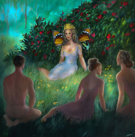 """Holding Court, oil, butterfly wings and gold leaf on panel, 10""""x10"""", Jessica Libor 2014"""