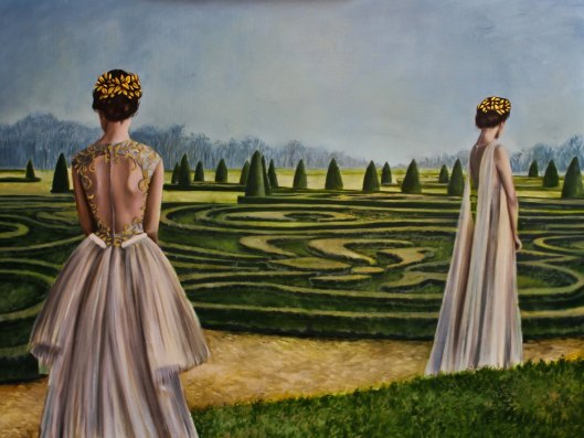"Sisters, oil and 23 karat gold leaf on panel, 18""x24"", Jessica Libor 2015"