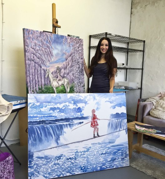 """Jess in Studio, oil on canvas, 30"""" by 30"""", Jessica Libor 2016 (1 of 1)"""