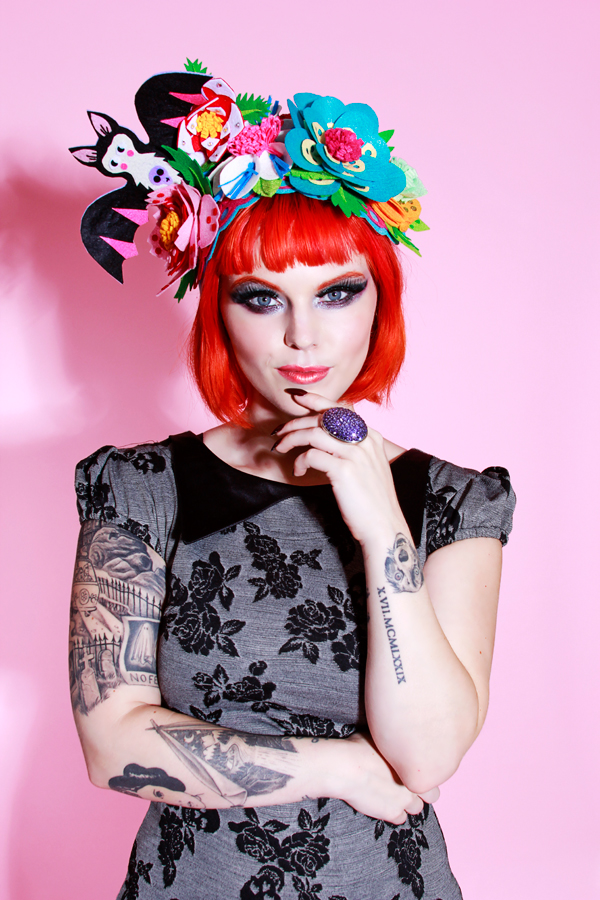 couture halloween felt flower hat with bat by Jessica Louise