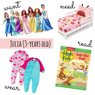 Want, Need, Wear, Read For a 3-Year-Old Girl