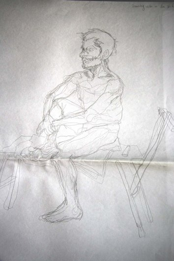 """Man sitting, drawn with left hand"", graphite on A2 sized paper, 2014"