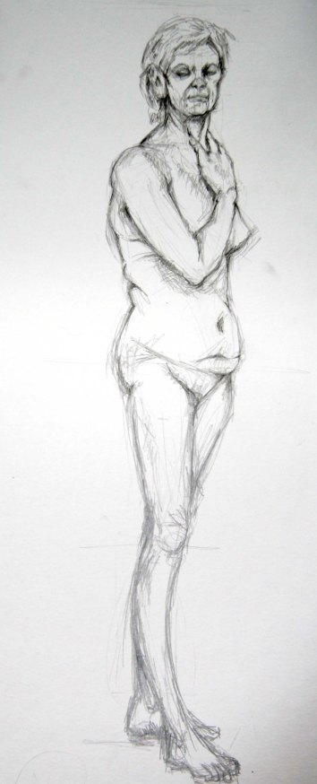 """Woman standing"", graphite on A2 sized paper, 2014"