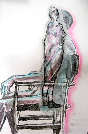 """Abstraction of a woman"", ink, charcoal, pastels and chalk on A2 sized paper, 2014"