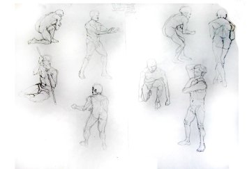 """Man - Gesture poses"", graphite on A1 sized paper, 2014"