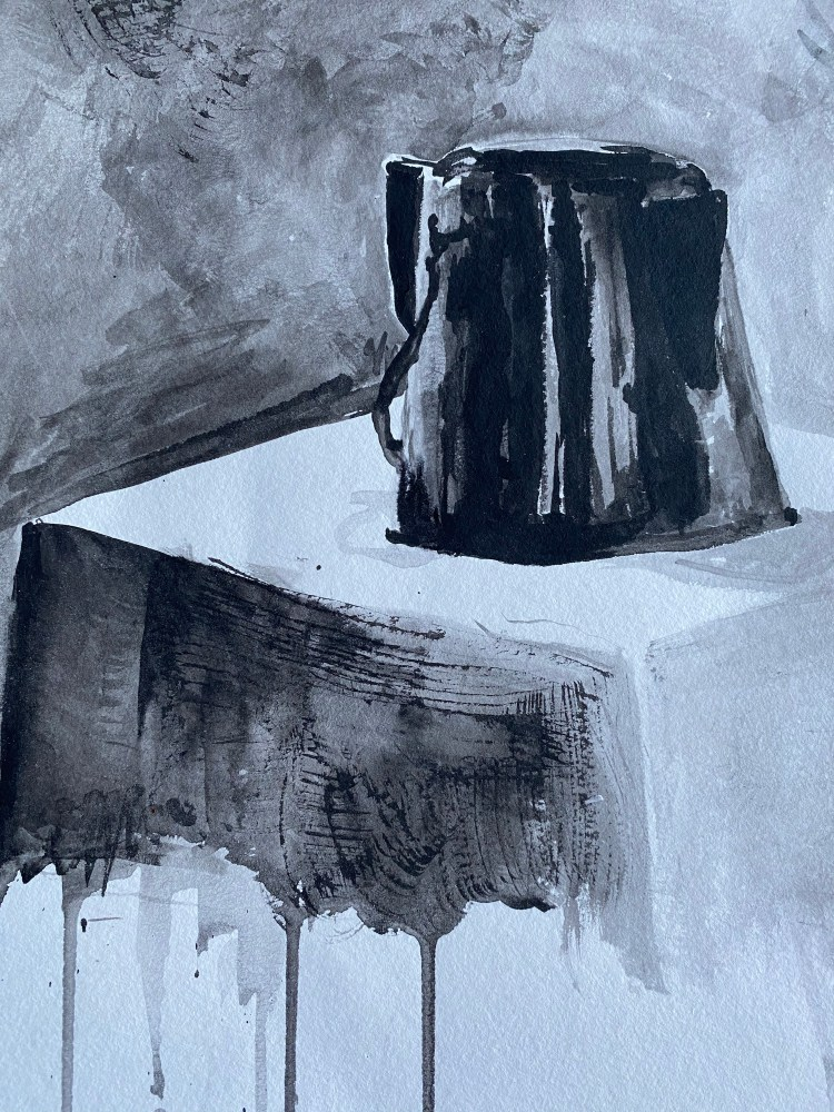 Coffee Pot Still Life - India Ink Drawing